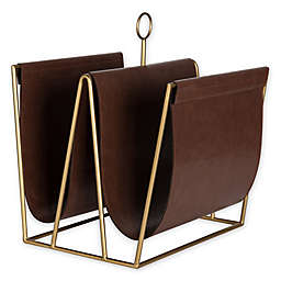 Kate and Laurel™ Alton Faux Leather Magazine or File Holder in Brown
