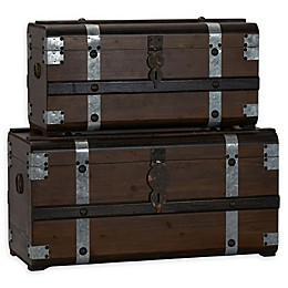 Household Essentials® Steel Band Wood Storage Trunks (Set of 2)