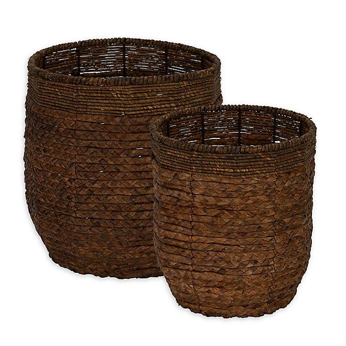 Alternate image 1 for Household Essentials® Rimmed Blended-Weave Wicker Baskets (Set of 2)