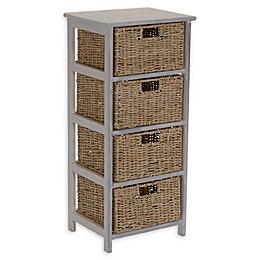 Household Essentials® Whitewash 4-Basket Storage Tower in White/Brown
