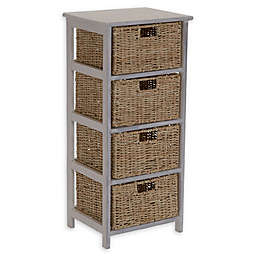 Household Essentials® Whitewash 4-Basket Storage Tower in White/Brown