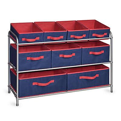 Bintopia 3-Tier Deluxe Storage Rack with Fabric Bins in Blue/Red