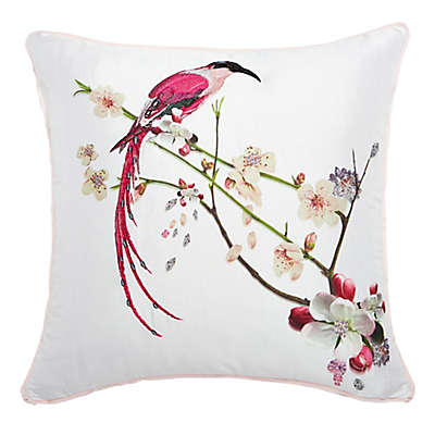Ted Baker Flight of the Orient Printed Bird Embroidered Square Throw Pillow