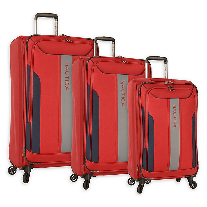 Alternate image 1 for Nautica® Gennaker Spinner Checked Luggage in Red/Navy