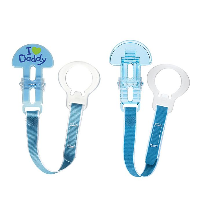 Alternate image 1 for MAM Love & Affection I Love Daddy Paci Clips with Leash Set