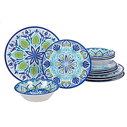 Certified International Morocco 12-Piece Dinnerware Set in Blue