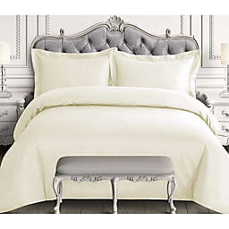 Tribeca Living 3-Piece 600-Thread-Count Queen Duvet Cover Set in Ivory