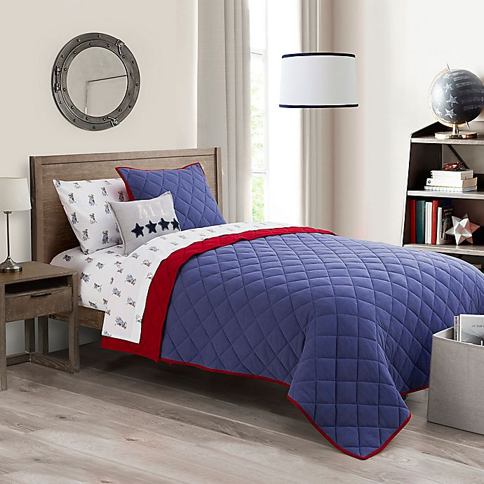Alternate image 1 for Henry 2-Piece Twin Quilt Set in Navy/Red