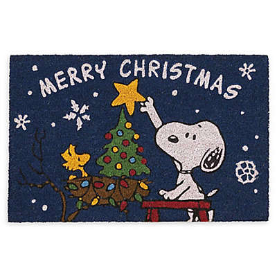 Nourison Peanuts® Snoopy and Woodstock 'Merry Christmas' 1'5 x 2'3 Door Mat in Ivory