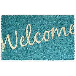 """Entryways Welcome 17"""" x 28"""" Coir Door Mat in Blue"""