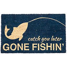 """Entryways Gone Fishin 17"""" x 28"""" Coir Door Mat in Blue"""