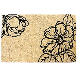 "Entryways Magnolia Blossom 22"" x 35"" Coir Door Mat in Black"