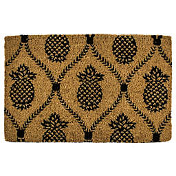 """Entryways Pineapple Trellis 22"""" x 35"""" Coir Door Mat in Black"""
