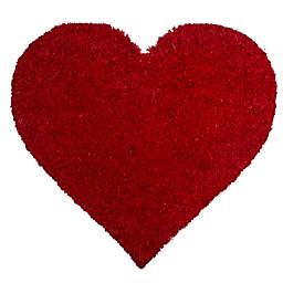 """Entryways I Heart You 20"""" x 21.5"""" Multicolor Coir Door Mat in Red"""