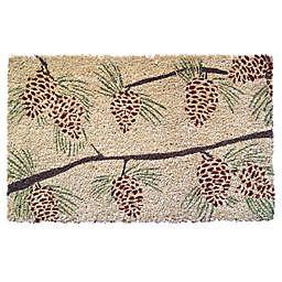 """Entryways Pinecones 17"""" x 28"""" Coir Door Mat in Brown/Green"""