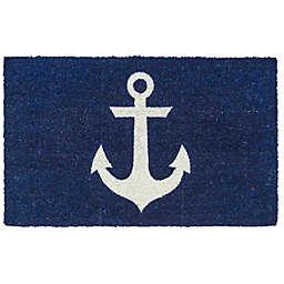 "Entryways Anchor 17"" x 28"" Coir Door Mat in Blue/White"