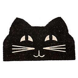 """Entryways Cat Face 17"""" x 28"""" Coir Door Mat in Black/White"""