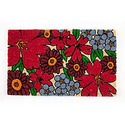 "Entryways Forget-Me-Nots 17"" x 28"" Coir Multicolor Door Mat"
