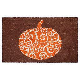 """Entryways Pumpkin Scroll 17"""" x 28"""" Coir Door Mat in Brown/Orange"""