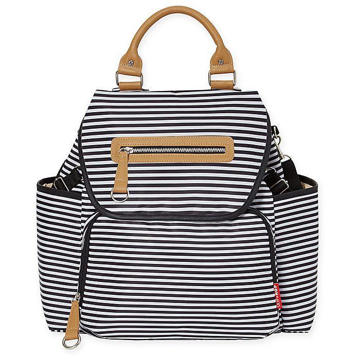 Alternate image 1 for SKIP*HOP® Grand Central Take it All Backpack Diaper Bag in Black Stripe
