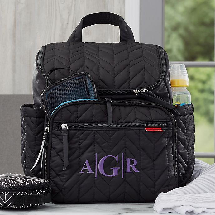 Alternate image 1 for SKIP*HOP® Forma Personalized Backpack Diaper Bag in Jet Black