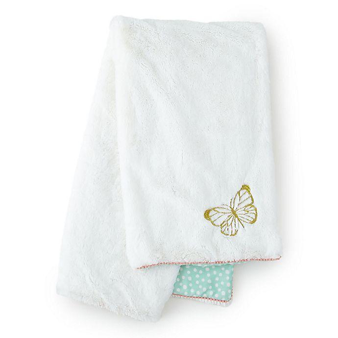 Alternate image 1 for Levtex Baby® Charlotte Blanket in Aqua/White