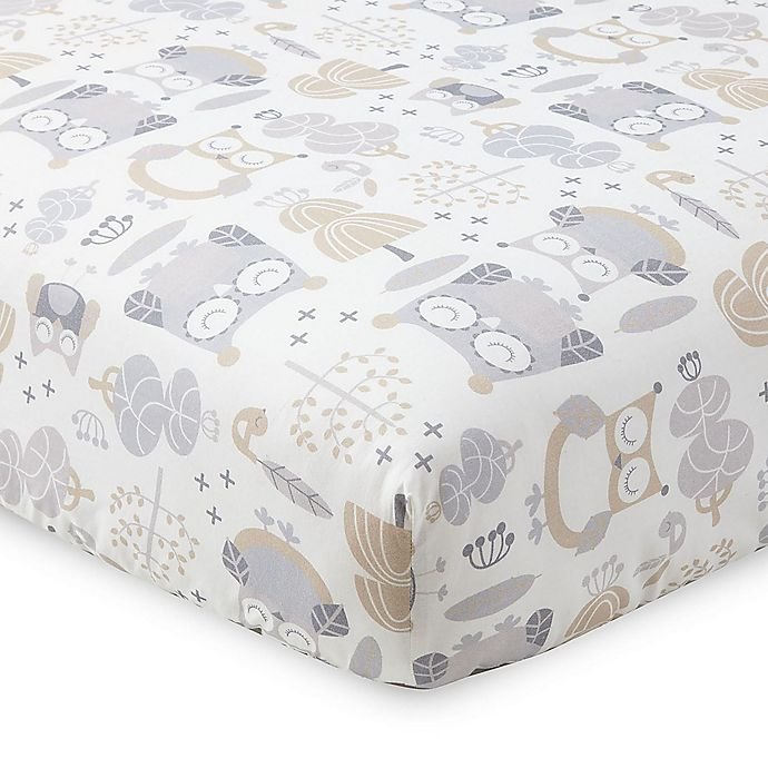 Alternate image 1 for Levtex Baby® Night Owl Fitted Crib Sheet in Grey/Taupe