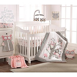 Levtex Baby Night Owl Crib Bedding Collection in Pink/Grey