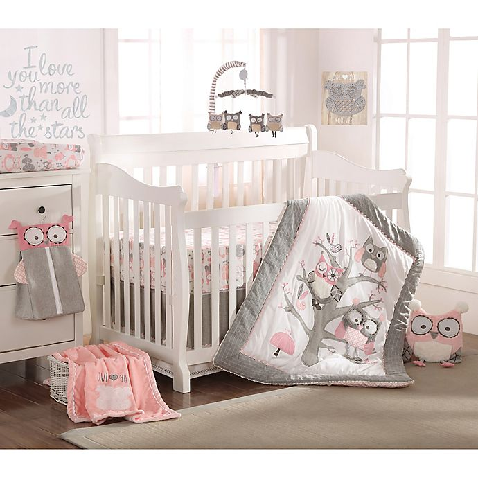 bfa8f837e55 Levtex Baby Night Owl Crib Bedding Collection in Pink Grey