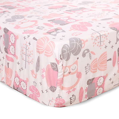 Levtex Baby® Night Owl Fitted Crib Sheet in Pink/Grey