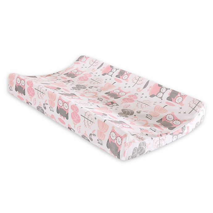 Alternate image 1 for Levtex Baby® Night Owl Velour Changing Pad Cover in Pink/Grey
