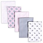 Gerber® 5-Pack Polka Dot Flannel Receiving Blankets in Pink/Grey