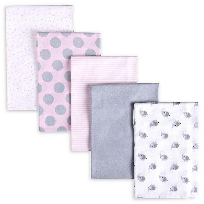 Alternate image 1 for Gerber® 5-Pack Polka Dot Flannel Receiving Blankets in Pink/Grey