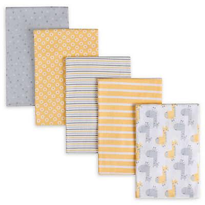 Gerber® 5-Pack Giraffe Flannel Receiving Blankets in Yellow/Grey