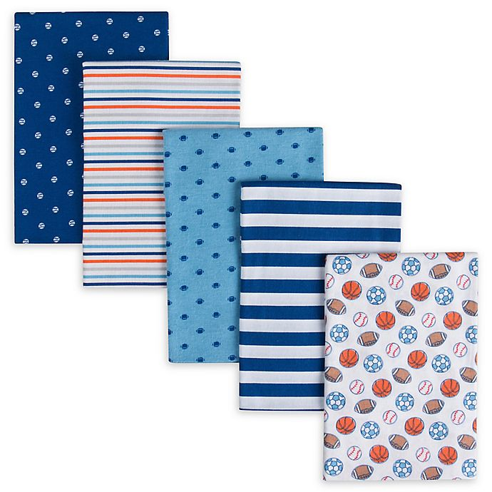 Alternate image 1 for Gerber® 5-Pack Sports Flannel Receiving Blankets in Blue/Navy