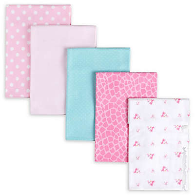 Gerber® 5-Pack Giraffe Flannel Receiving Blankets in Pink/Aqua