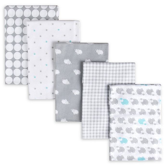 Alternate image 1 for Gerber® 5-Pack Sheep Flannel Receiving Blankets in Grey/White