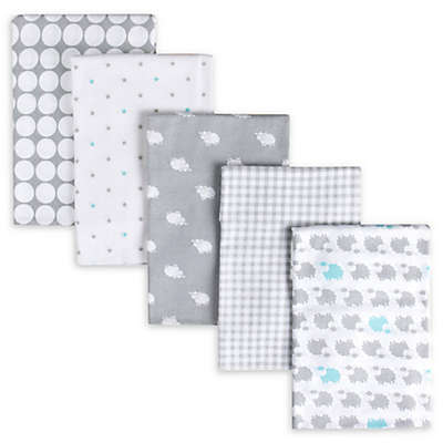 Gerber® 5-Pack Sheep Flannel Receiving Blankets in Grey/White