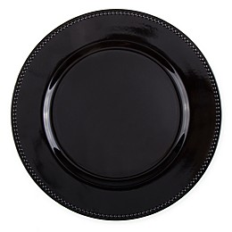 13-Inch Beaded Charger Plates in Black (Set of 6)