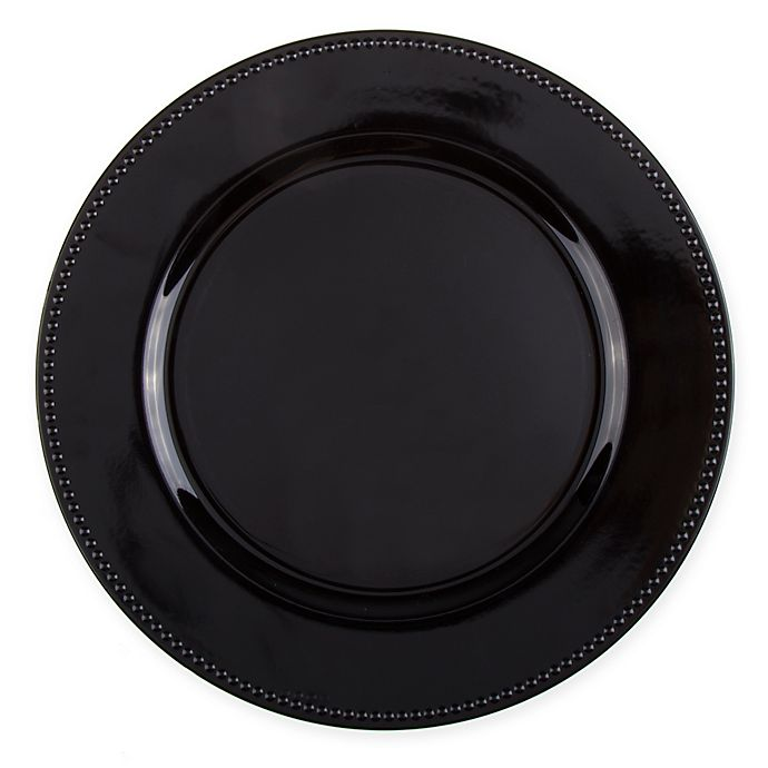 Alternate image 1 for 13-Inch Beaded Charger Plates in Black (Set of 6)