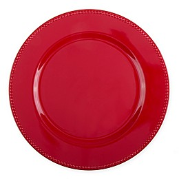 13-Inch Beaded Charger Plates in Red (Set of 6)