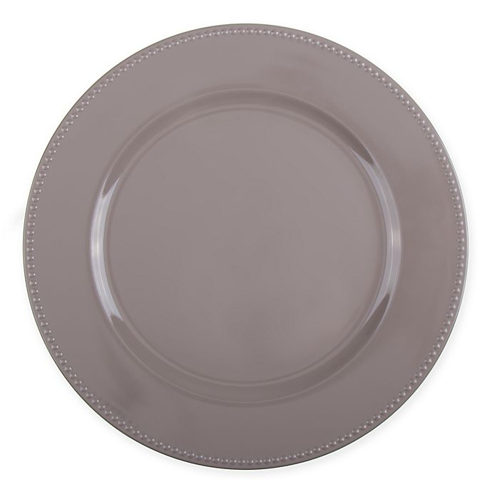 Alternate image 1 for 13-Inch Beaded Charger Plates in Taupe (Set of 6)