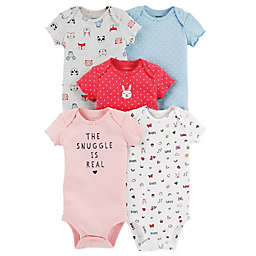 "carter's® 5-Pack ""Snuggle"" Short-Sleeve Bodysuits"