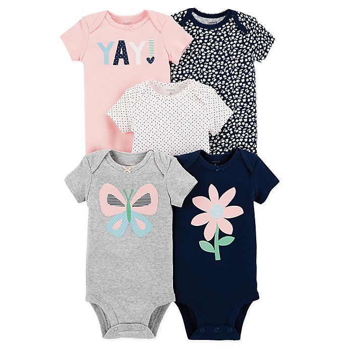 Alternate image 1 for carter's® Size 9M 5-Pack Butterfly Short-Sleeve Bodysuits