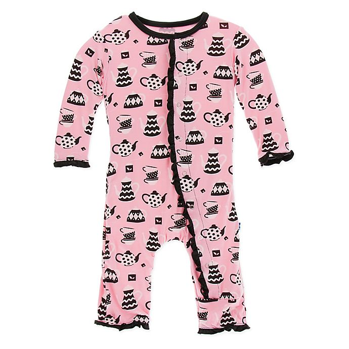 Alternate image 1 for KicKee Pants® Size 6-9M Teatime Ruffle Coverall in Pink