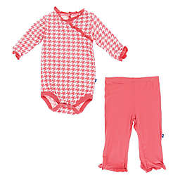 KicKee Pants® 2-Piece Houndstooth Bodysuit and Pant Set in Coral