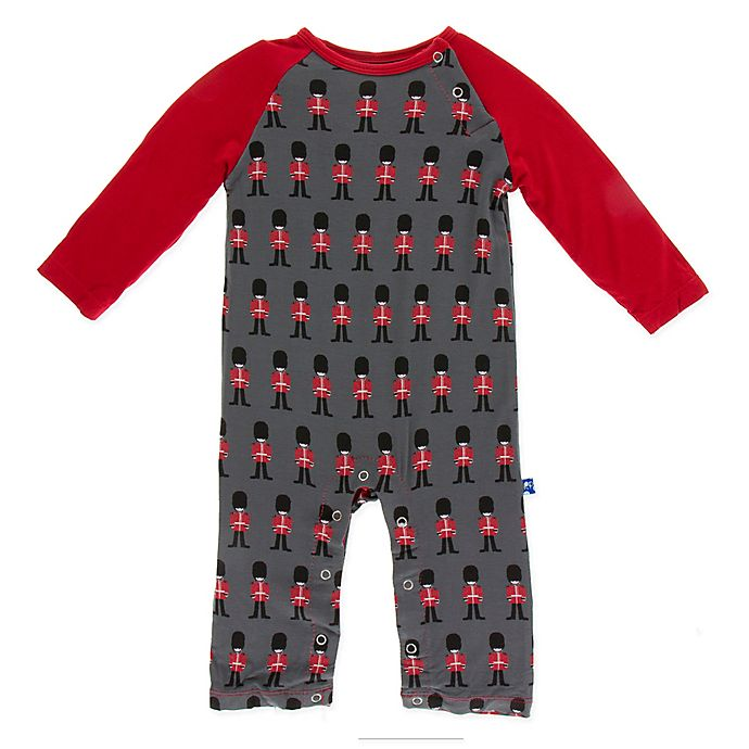 Alternate image 1 for KicKee Pants® Queens Guard Raglan Coverall in Grey/Red