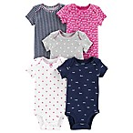 carter's® Size 3M 5-Pack Hearts Short-Sleeve Bodysuits