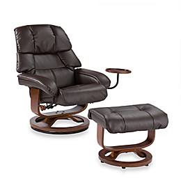 Southern Enterprises Leather Recliner/Ottoman w/Accessory Table