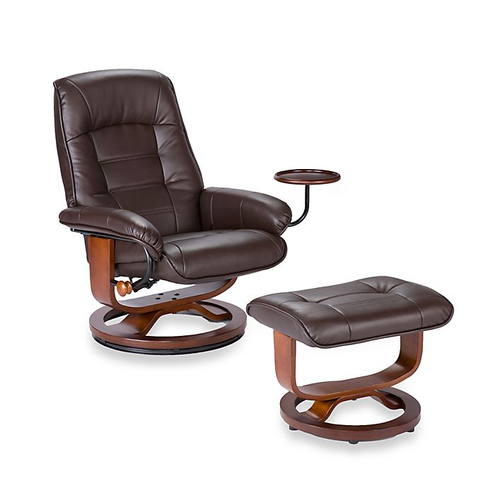 Awe Inspiring Southern Enterprises Ergonomic Leather Recliner And Ottoman Bralicious Painted Fabric Chair Ideas Braliciousco